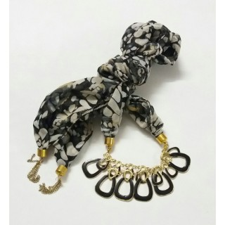 Scarf Jewelry-Black Printed